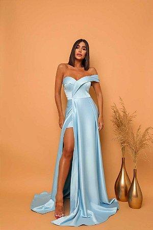 Vestido Longo Cetim Azul