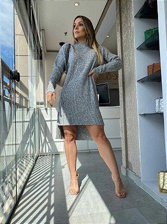 Vestido Tricot Mousse Cinza