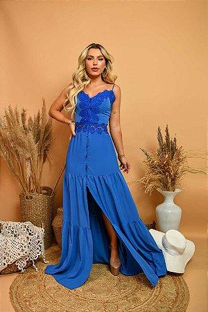 Vestido Longo Sabrina Azul