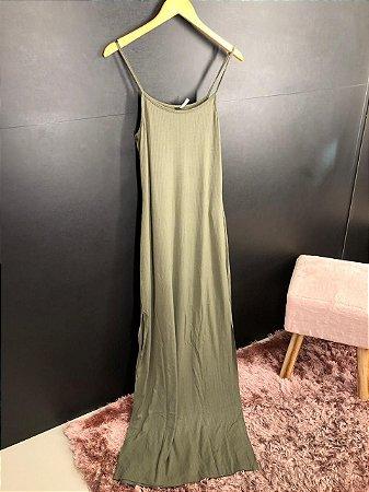 Vestido Canelado Thainá Verde