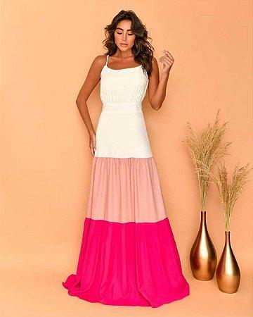 Vestido Longo Tricolor Pink