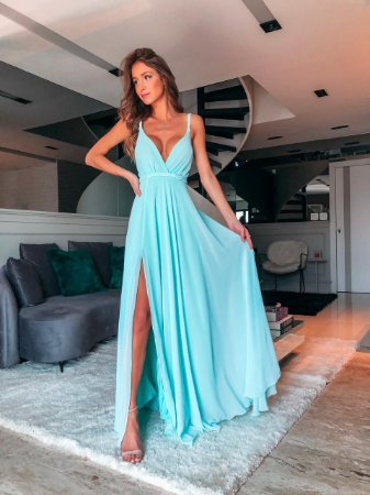 Vestido Longo Lorini Azul