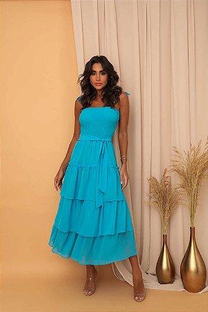 Vestido Mid Brunna Azul