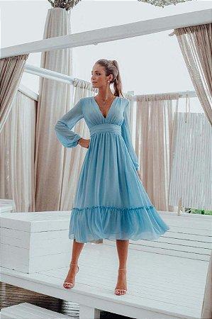 Vestido Mid Giulia Azul