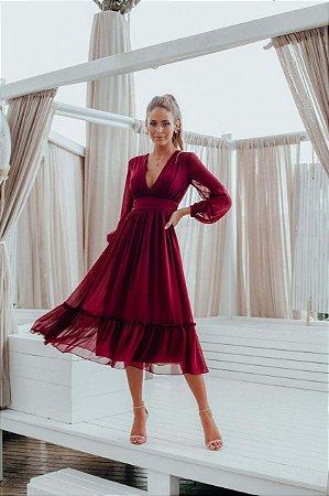 Vestido Mid Giulia Marsala
