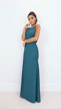 Vestido Longo Drap Verde
