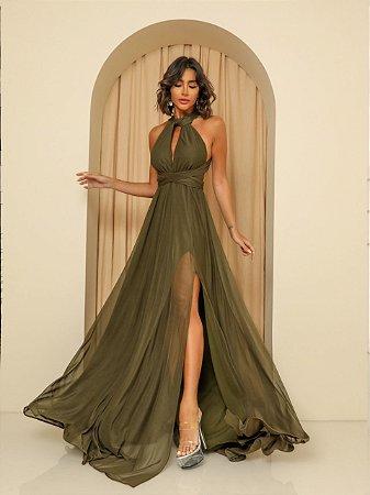 Vestido Longo Santorini Verde Militar