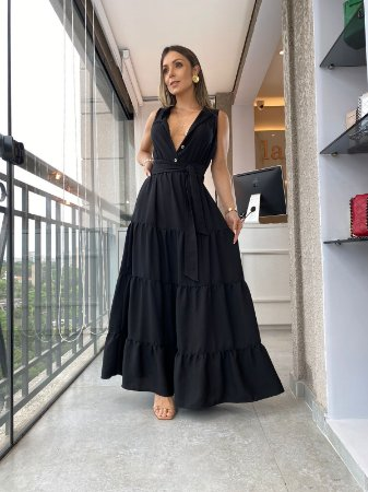 Vestido Longuete Louise Preto