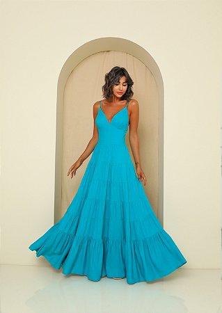 Vestido Longo Alice Azul