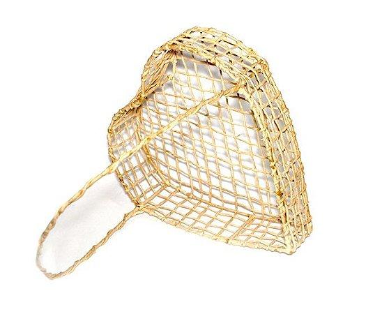 Cesta coração de palha (arame) nº 3 -  30x33x8cm