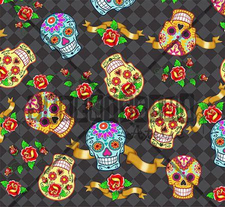 Tecido Caveira mexicana preto