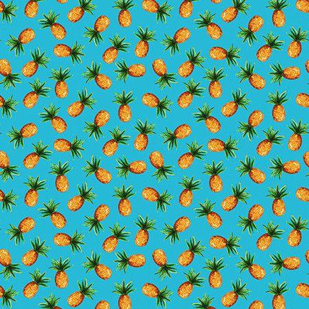 Tecido Abacaxi fundo azul Digital 100% algodão