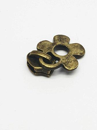 Cursor de Zíper nº 5 Flor ouro velho