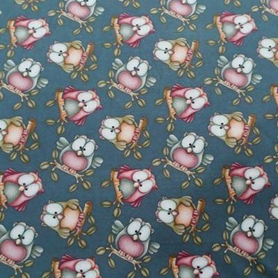 Tecido coruja Fundo Azul Digital 100% algodão