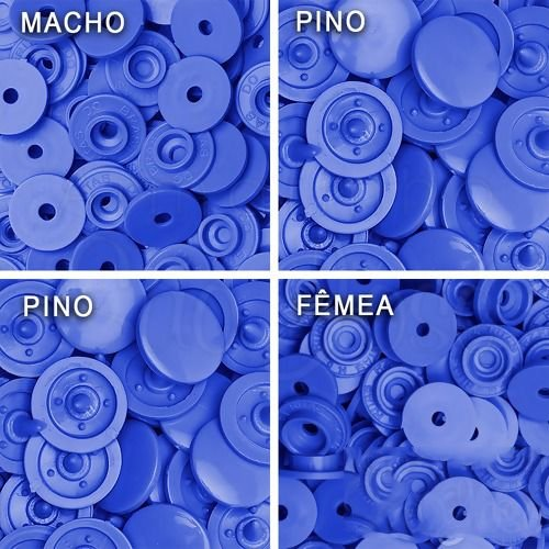 Botão Ritas, Tamanho 12mm, Pacote com 50 unidades, Cor Azul Royal