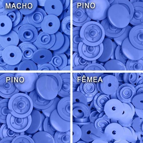 Botão Ritas, Tamanho 12mm, Pacote com 50 unidades, Azul Céu
