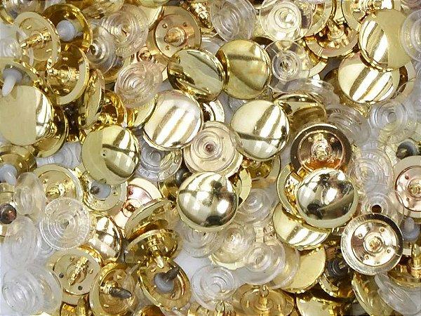 Botão Ritas, Tamanho 12mm, Pacote com 50 unidades, Cor Dourado
