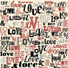 TECIDO LOVE LOVE LOVE CREME TRICOLINE 100% ALGODÃO 0,50 POR 1,50 LARGURA