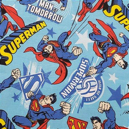 TECIDO SUPER MAN TRICOLINE 100% ALGODÃO 0,50 POR 1,50 LARGURA