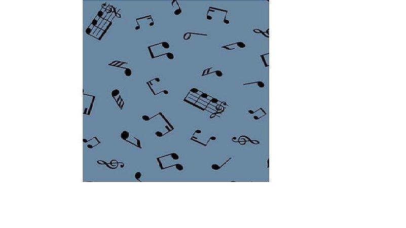 TECIDO NOTAS MUSICAIS AZUL JEANS100% ALGODÃO 0,50 POR 1,50 LARGURA