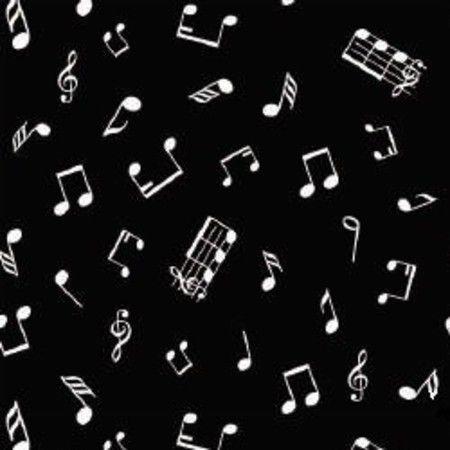 TECIDO NOTAS MUSICAIS PRETO 100% ALGODÃO 0,50 POR 1,50 LARGURA