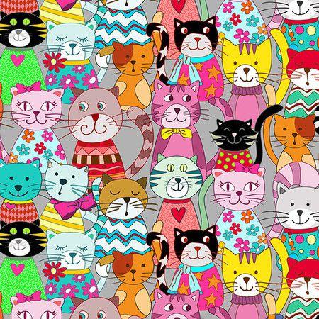 Tecido gatos digital 100% algodão