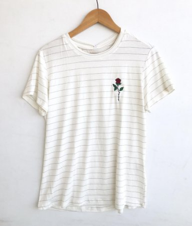 Tee luxo Rosa (bordado) - Alma Leve