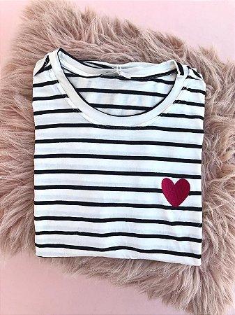 Tee luxo Listras Coração - Novas Chances