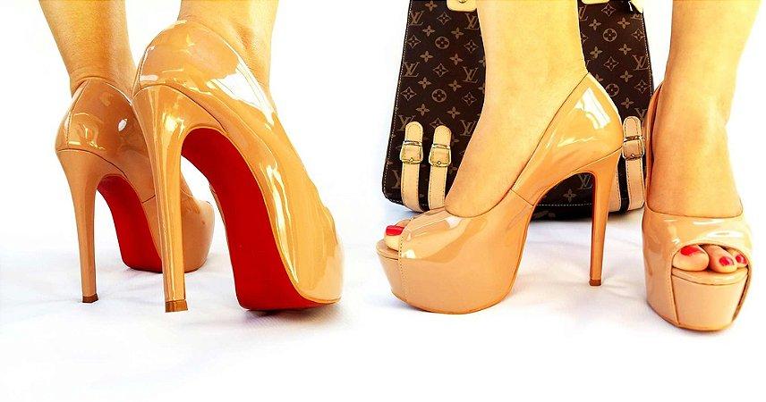 882669def5 PEEP TOE NUDE VERNIZ - Anny Shoes