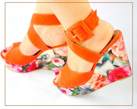 Sandália Anabela Flay Orange