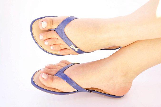 Sandália Rasteira Azul Bic