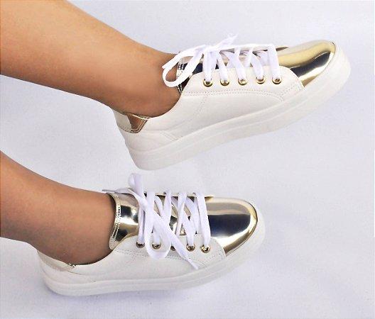 Tênis feminino Branco Ouro