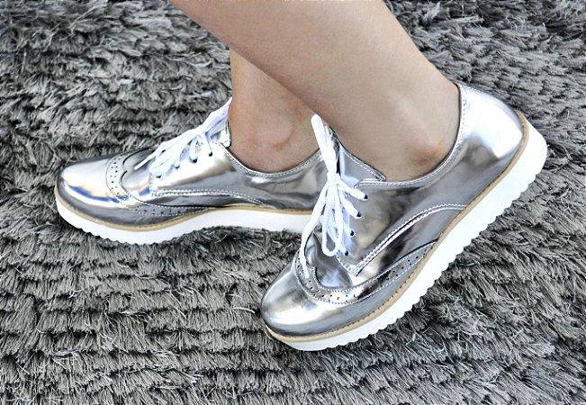 Sapato Feminino Oxford Prata
