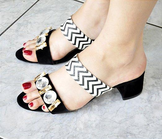 Sandália tamanco Listras e Pedras De Luxo