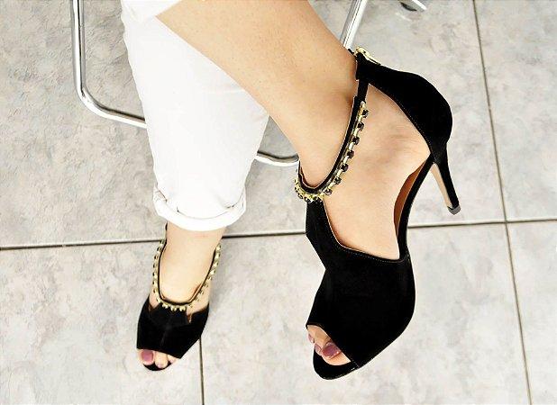 Sandália Preta Salto Fino Com Pedras