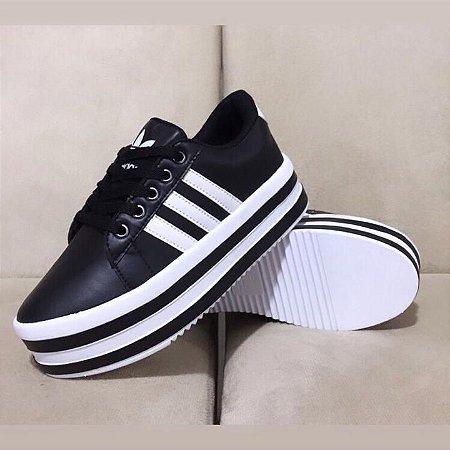 Tênis By Anny Shoes Adidas Plataforma Solado Listrado Preto e Branco