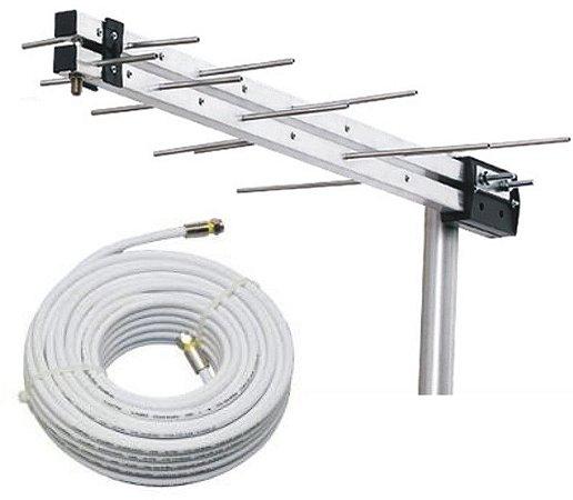 kit Antena Digital para TV UHF/VHF/HDTV com 10 Metros de Cabo