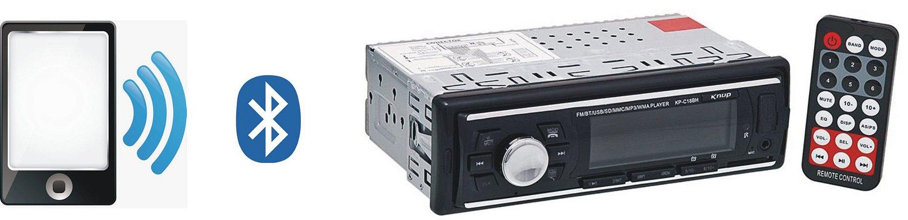 RADIO AUTOMOTIVO BLUETOOTH KNUP KP-C18BH