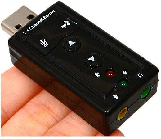Placa De Som Adaptador Usb 7.1 Canais 3d Áudio Channel Sound Knup HB-T64