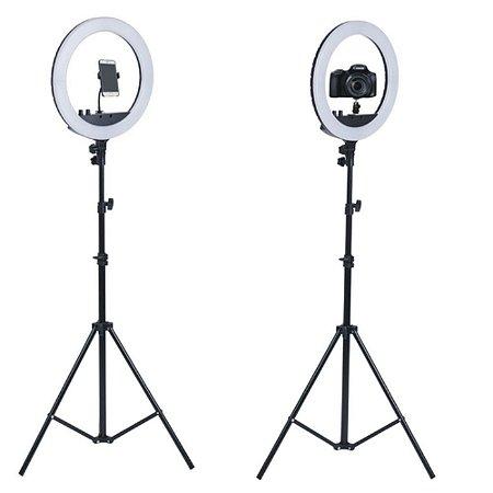 Ring Light com Tripé com luz lampada 26 cm e controle de iluminação