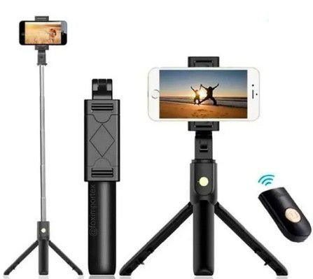 Tripé Bastão Selfie C/ Controle S/ Fio Bluetooth tomate MZP-110