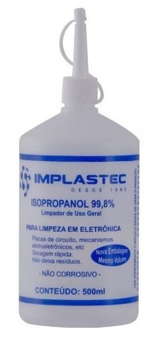 Álcool Isopropílico 500ML Implastec 99.8% Limpeza em Eletrônicos