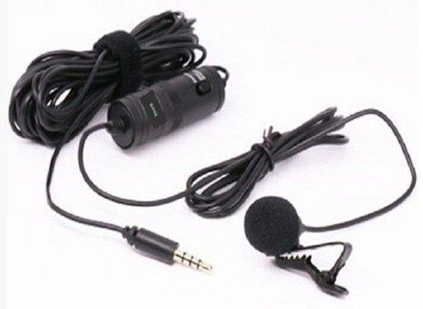 Microfone Lapela Profissional Omnidirecional Para Celular e Camera Plug P3 Cabo 6m KNUP Kp-920