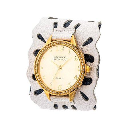 Relógio EF Bracelete Vazado Branco, Feminino.