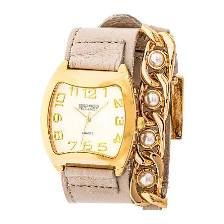 Relógio EF Bracelete Corrente com Pérolas, Feminino.