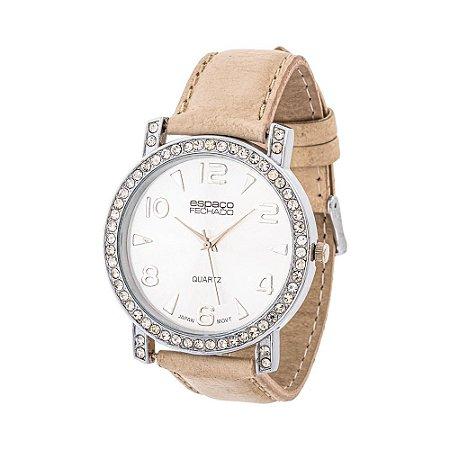 Relógio EF Bege com Strass, Feminino.