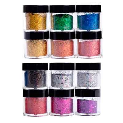 Glitter na caixa diversas cores 12 cores