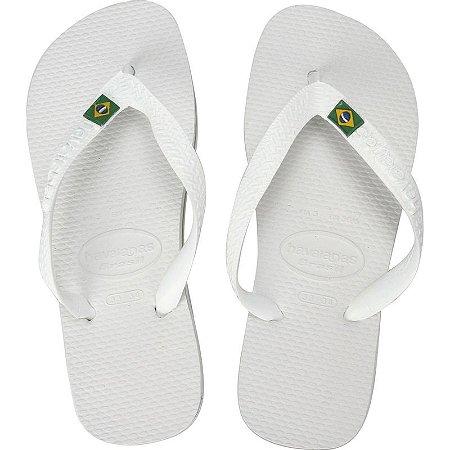 Chinelo Havaianas Brasil Branco com Bandeira Brasil