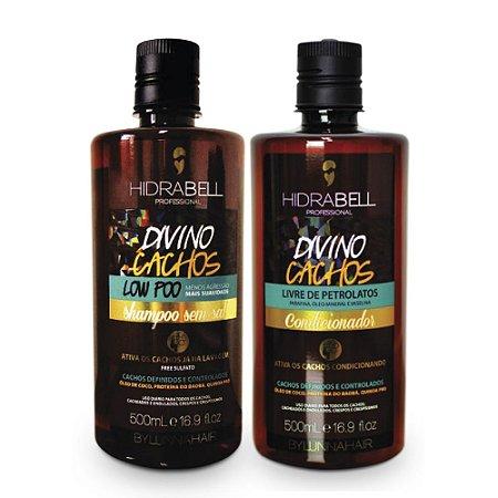 Shampoo e Condicionador Divino Cachos Low Poo Hidrabell