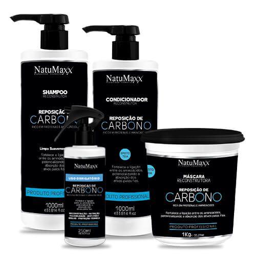 Kit Carbono - Shampoo 1Lt + Condicionador 1LT  + Máscara1 KG + Uso Obrigatório 250ml  NatuMaxx